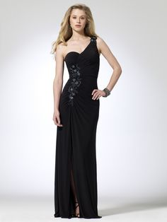 2014 Beaded Waist One Shoulder Black Evening Dress - http://www.vudress.com/