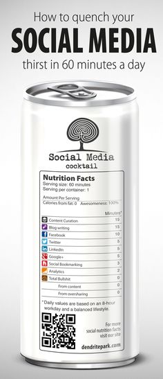 Social Media Cocktail  #Infographic Get social media tasks done in 60 min/day
