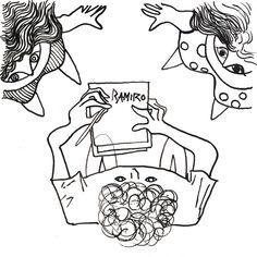 Tonto fui y me creía el mejor : autor: Ramiro Quesada / texto: Charly Garcia técnica: tinta dimensiones: 15,8 cm x 15,8 cm | quesadaramiro