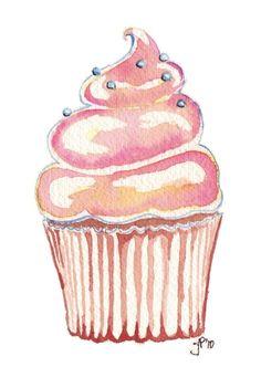 Watercolor Painting Kids art Cute Pink Cupcake Art by jojolarue