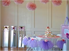 Teacups and Tutus Party - Hang a long door mirror sideways by a ballet bar