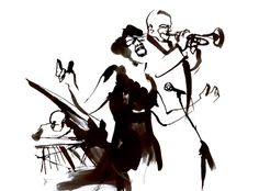 Jazz Band - Eri Griffin Black & White Ink Illustration