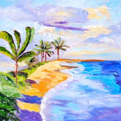 Etsy Artist: Hawaii Beach Painting. Featured on Beach Bliss Living: http://beachblissliving.com/affordable-original-sea-beach-paintings-by-etsy-artists/