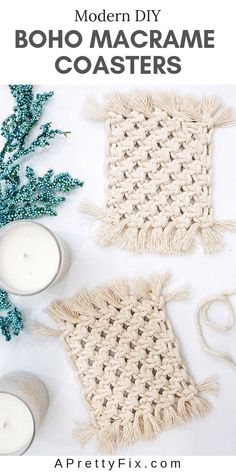 Learn how to make these modern Boho macrame coasters using just 1 single knot. It's easy and the final results are a set of practical and pretty coasters for you home. knots Easy Boho DIY Macrame Coasters - A Pretty Fix Diy Craft Projects, Macrame Projects, Craft Tutorials, Do It Yourself Tattoo, Diy Macrame Wall Hanging, Macrame Mirror, Macrame Curtain, Diy Coasters, Homemade Coasters