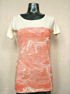 Women's boat neck wave tee in faded red by fluxproductions on Etsy
