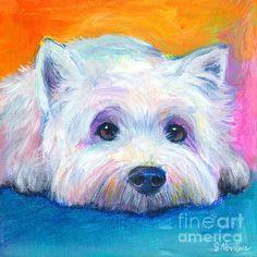 West Highland Terrier dog painting Painting - West Highland Terrier dog painting Fine Art Print - Svetlana Novikova