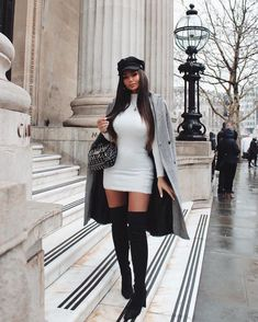 Shopping Outfits, Boujee Outfits, Winter Fashion Outfits, Look Fashion, Winter Dress Outfits, Classy Fashion, Winter Birthday Outfits, Dressy Winter Fashion, Paris Winter Fashion