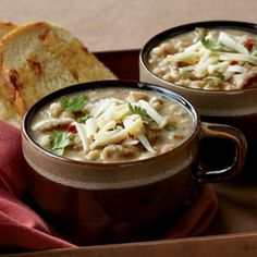 Slow Cooker White Chicken Chili..Serve this effortless chili with toasted Panera Bread Three Cheese Bread for dipping. It tastes even better the next day!-Visit PaneraBread.com for more inspiration. (20 minute prep, 3hrs 30 minutes cook time)