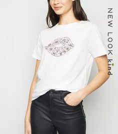 Shop White Floral Lips Print T-Shirt. Discover the latest trends at New Look. Leather Look Jeans, White Cosmo, Lace Print, Rock T Shirts, White Shop, New Look, Black Tops, Latest Trends, Fitness Models
