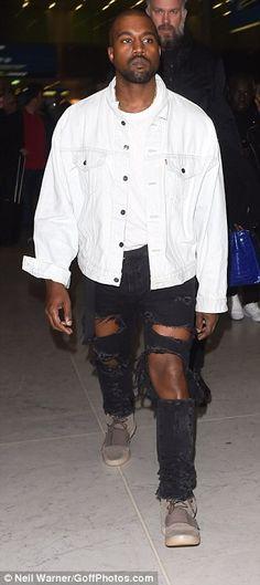 Ele & Elis Blog: Kanye West arrives paris wearing  black jeans with...