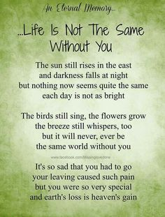 Life is not the same with out you :-(we all miss you so much and love you forever, I think about you every day and night. Missing My Husband, I Miss My Mom, Missing Someone Who Passed Away, Missing Mom In Heaven, Miss You Daddy, Grief Poems, Dad Poems, Grieving Quotes, Heaven Quotes