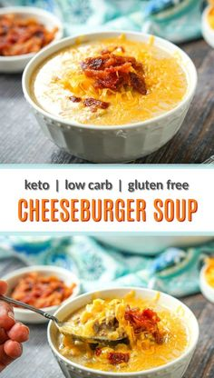 This easy keto cheeseburger soup has all the makings and taste of a cheeseburger but in a lighter, low carb soup. Uses cauliflower cream and has only net carbs. Low Carb Soup Recipes, Cheese Burger Soup Recipes, Keto Recipes, Cooking Recipes, Healthy Recipes, Protein Recipes, Keto Desserts, Crockpot Recipes, Dessert Recipes