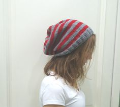 RED and GRAY  knitted Slouchy Beanie Autumn Winter by MARYsworks
