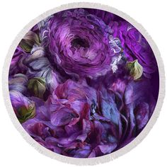 Peonies In Purples 2 round beach towel featuring the art of Carol Cavalaris.