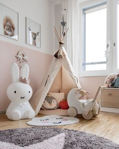 We just love this gorgeous kid's play corner by 👈🏻 Cam Cam Rainbow mobile, Miffy lamp and Ooh Noo Toy Pram are all available in our online store 💕 . Blue Teen Girl Bedroom, Baby Bedroom, Nursery Room, Girl Nursery, Childrens Room Decor, Baby Room Decor, Kids Play Corner, Miffy Lamp, Baby Room Design