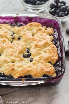 This Blueberry Cobbler is a quick, easy dessert, perfect for showcasing those summer blueberries! It comes together with just 10 minutes prep and is amazing with a scoop of vanilla ice cream or whipped cream to top it all off! Blueberry Cobbler Recipes, Blueberry Desserts, Blueberry Cobbler Bisquick, Blueberry Cobler, Cobbler With Bisquick, Easy Desserts, Delicious Desserts, Food Network Recipes, Cooking Recipes