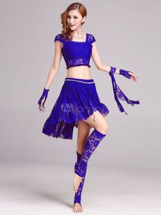 Belly Dance Costumes Women's Lace Crop Top Two Pieces Dance Dress Sets…