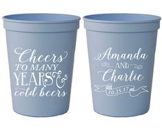 Cheers Cups Wedding Weddings Custom Cup Favors To Many Years Monogrammed Party