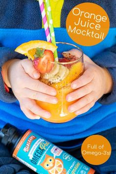 Healthy Orange Juice Mocktail for your favorite kids a drink packed with fruits juice and Perfect as a Breakfast Mocktail after school snack or brunch! Party Drinks, Fun Drinks, Toddler Muffins, After School Snacks, Latest Recipe, Energy Bites, Mint Chocolate, Orange Juice, Mixed Drinks