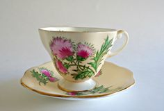 Paragon Star Tea Cup and Saucer Thistle Teacup Vintage by TreasureCoveAlly on Etsy