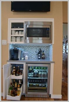 34 Interesting Diy Mini Coffee Bar Design Ideas For Your Home. If you are looking for Diy Mini Coffee Bar Design Ideas For Your Home, You come to the right place. Here are the Diy Mini Coffee Bar Des. Canto Bar, Coffee Bar Design, Coffee Bar Built In, Coffee Bars, Coffee Bar Ideas, Built In Microwave, Microwave Cabinet, Microwave Storage, Microwave Oven