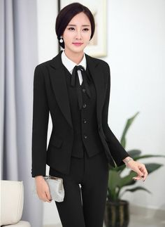 2016 Professional Formal Pantsuits Ladies Business Women Suits 3 pieces With Jackets + Pants + Vest Female Trousers Sets OL-in Pant Suits from Women's Clothing & Accessories on Business Outfits, Business Fashion, Business Women, Business Attire, Pants For Women, Jackets For Women, Clothes For Women, Work Clothes, Moda Formal