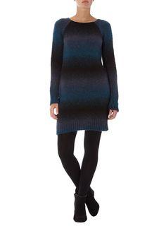 Dorothy Perkins: Navy & Black Fade Striped Dress
