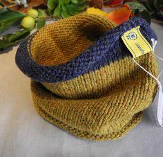 Knitted neck warmer // Infinity scarf // Gift idea // Snood // Cowl // tikuchi // Free shipping // Mustard // Blue