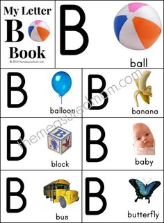 26 FREE printable alphabet books from A-Z! Each page has a bold alphabet letter with a bright photograph.