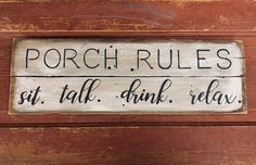 Wooden Welcome Signs, Porch Welcome Sign, Wooden Signs, Patio Signs, Porch Signs, Wood Crafts Summer, Patio Oasis Ideas, Barn Board Projects, Porch Rules Sign
