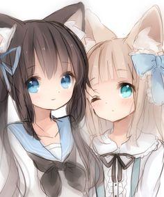 ✮ ANIME ART ✮ anime. . .neko. . .cat girls. . .cat ears. . .seifuku. . .sailor uniform. . .ribbons. . .friends. . .cute. . .kawaii