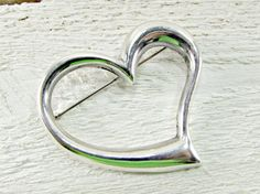 Vintage Sterling Silver Heart Brooch Pin, Large Heart Brooch, 1980s Fine Estate Vintage Jewelry, Gift for Mom Mother Grandma, Mothers Day by RedGarnetVintage