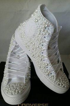 Bridal Converse Wedding Converse Bling & Pearls Custom #weddingshoes