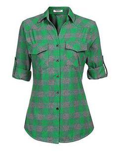 69c5cab10e0c49 Zeagoo Womens Flannels Long/Roll Up Sleeve Plaid Shirts Cotton Check  Gingham Top S-3XL
