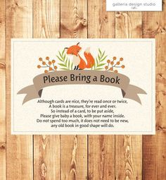 Woodland Fox Baby Shower Invitation Insert - Please Bring a Book Instead of a Card by Galleria Design Studio