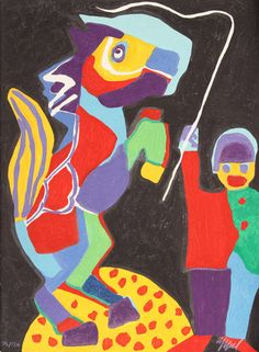 Artist: Karel Appel, Dutch (1921 - 2006) Title: The Circus Suite, On Voit Marcher Toutes les Couleurs from Portfolio II Year: 1978 Medium: Woodcut with Embossing, Complete Series is of 30 Woodcuts with Embossing and Wood Sculpture Case (individually signed and numbered) Edition: 130, XX Size: 29.5 in. x 22 in. (74.93 cm x 55.88 cm)