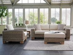 Contemporary Conservatory Furniture - Bring the outdoor in! Conservatory Sofa, Conservatory Interiors, Conservatory Ideas, Contemporary Conservatory Furniture, Contemporary Furniture, Contemporary Apartment, Rattan Furniture, Outdoor Furniture Sets, Furniture Design