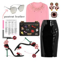 """""""Patent Leather Skirt"""" by karolinapl ❤ liked on Polyvore featuring Miu Miu, Topshop Unique, Moschino, Quay, Prada, Dolce&Gabbana and Effy Jewelry"""