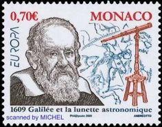 Galileo Galilei auf Briefmarke aus Monaco von 2009