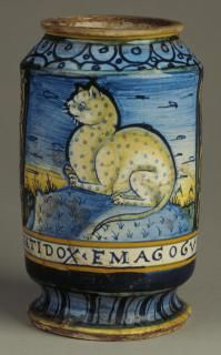 Drug jar or albarello decorated with a spotted cat  Circa 1550  Italy (Castelli) 16th century (1500 - 1599)  Tin-glazed earthenware  Height: 16.8 cm (unchecked);  Inscription On base, ANTIDOX.EMAGOGUM.  Acquisition Gambier-Parry, Mark; bequest; 1966 O.1966.GP.248