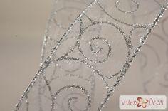 Karácsonyi organza szalag - fehér, ezüst indás - 38mm x 9,1m - Valex Decor Kft.   Virágkötészeti kellékek és dekorációk webáruháza