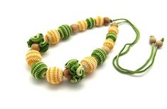 This item is unavailable Teething Necklace, My Etsy Shop, Trending Outfits, Unique Jewelry, Handmade Gifts, Bracelets, Check, Green, Flowers