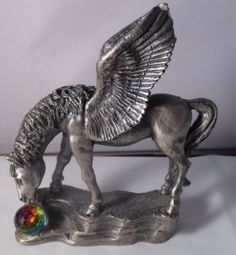 Roger-Gibbons-Pewter-Pegasus-Horse-Crystal-Ball-Figurine
