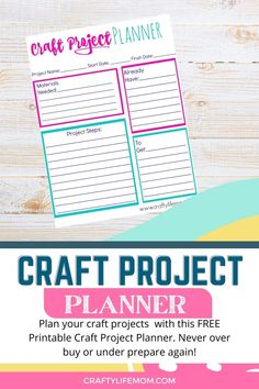 Craft Project Planner Printable to plan your Craft Projects Diy Crafts For Kids Easy, Cool Diy Projects, Diy For Kids, Kids Crafts, Free Planner, Happy Planner, Printable Planner, Printables, Project Steps