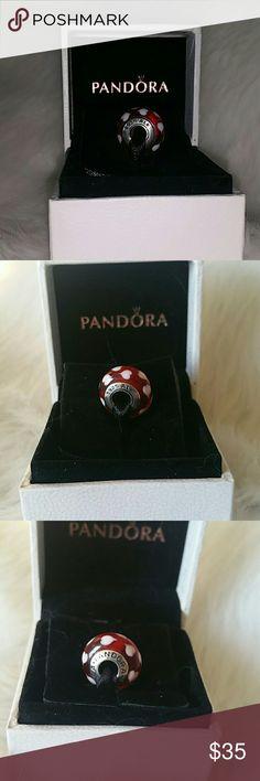 Pandora Hearts Murano Charm Authentic Pandora Red & White  Murano Hearts Charm. Pandora Jewelry Bracelets
