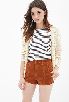 High-Waisted Corduroy Shorts | FOREVER 21 - 2000083887