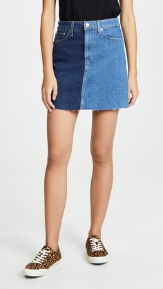 Joe's Jeans The Two Tone Bella Skirt Jean Skirt, Denim Skirt, Fashion 101, Fashion Online, Two Toned Jeans, Mexico Style, Cotton Citizen, Joes Jeans, Jean Outfits