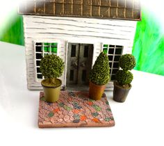 Miniature Topiary Potted Plant and Patio Set ~ Choice at checkout ~ Fairy Garden Miniature ~ Dollhouse Miniature Plant ~ Choice at Checkout by BeachCottageBoutique on Etsy