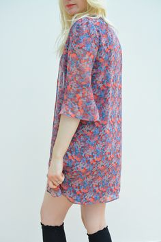 Floral longline chiffon kimono available in sizes XS-XL on www.thewolfflower.com