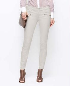 Zip Pocket Super Skinny Jeans in Light Silver.  Perfect Summer to Fall Denim